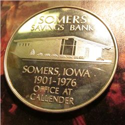 """United States/Independence Hall/1776-1976/Bicentennial"", ""Somers/Savings Bank/Somers. Iowa/1901-197"