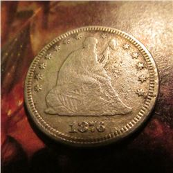 1876 P U.S. Seated Liberty Quarter. VG.