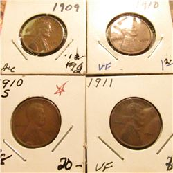 1909 P Brown AU, 10 P EF, 10 S VG, & 11 P VF Lincoln Cents.