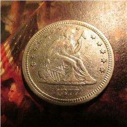 1877 S U.S. Seated Liberty Quarter. EF.