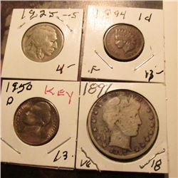 1894 Indian Cent Fine; 1925 S Buffalo Nickel VG; 1950 D Jefferson Nickel BU; & 1897 P Barber Half-Do