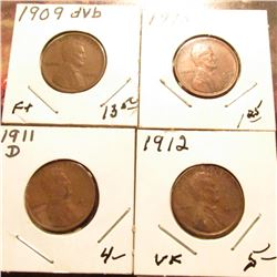 1909 P VDB Fine, 10 P VF, 11 D (damaged), & 12 P EF Lincoln Cents.