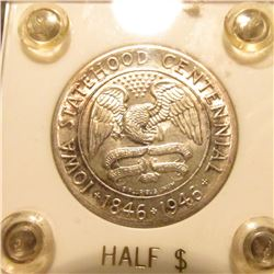 1846-1946 Iowa Centennial Commemorative Half-Dollar in a white Capital holder with gold-lettering. G