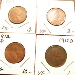 1909 P Brown AU, 11 P VF, 12 D VG, & 15 D VF Lincoln Cents.