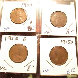 1909 P EF, 11 P VF, 12 D VG, & 15 D VF Lincoln Cents.