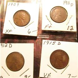 1909 P EF, 11 D F+, 12 D VG, & 15 D VF Lincoln Cents.