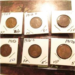 1909 P EF, 12 D VG, 15 P good, 15 D VF, 16 S Fine, & 17 D VF Lincoln Cents.