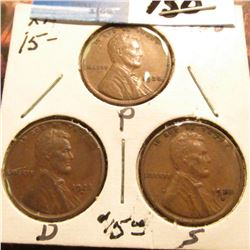 1928 P, D, & S Lincoln Cents. All EF.