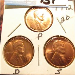1942 P, D, & S Lincoln Cents. All BU.