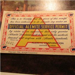 "Depression: ""Official Alemite Service Permit"". Serial No. 4441. Copyright 1932."