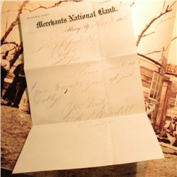 "Late Civil War era Letter from ""Merchants National Bank Albany, N.Y. Nov. 3, 1865""."