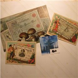 "Early German Postcard depicting 100 Mark Reichsbanknote, Stamped, & postmarked; & (2) different ""Fer"