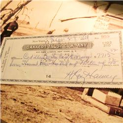 Signed check by H. Roy Hamey, a former general manager of the Yankees and two other major league clu