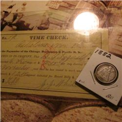 "Nov. 8, 1882 ""Time Check Chicago, Burlington, & Pacific R.R"", possibly Oskaloosa?; & 1882 U.S. Seate"
