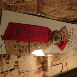 "1901 Republican Convention Cedar Rapids Iowa Badge & Ribbon for ""Press""."