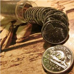 "1965 Original BU Roll of Canada ""Beaver"" Nickels. (40 pcs.) In a plastic tube."