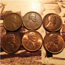 1909 P VDB VF+, 31 D VF+, 42 D, 46 P, 52 D, & 56 D all Red-Brown Unc Lincoln Cents.