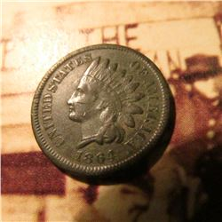 1864 Bronze Civil War Indian Head Cent.  Slightly dark VF.