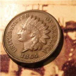 1864 L (visible) Indian Head Cent. Rare variety. Fine.