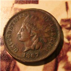 1867  Indian Head Cent. VF.