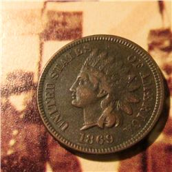 1869  Indian Head Cent. Fine-Very Fine.