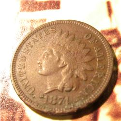 1874  Indian Head Cent. VF, Rim bruise