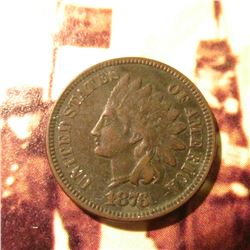 1876  Indian Head Cent. VF.