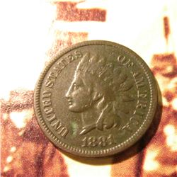 1881 Indian Head Cent. F+. Slightly dark.