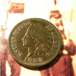1883  Indian Head Cent. VF.