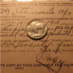 "12/17/1913 ""The Rand-McNalley Bankers' Directory"" Contract Receipt from Ottumwa, Iowa; & a super nic"