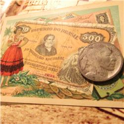 "1916 D Buffalo Nickel in Fair condition with an early advertising card from ""Fera's Confectionery an"