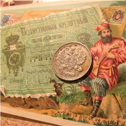 "1915 Russia Silver 10 Kopek, EF &  with an early advertising card from ""Fera's Confectionery and Res"
