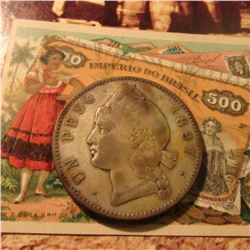 1897 Dominican Republic Silver 25 Gramos with an early blank advertising card which depicts a rare B