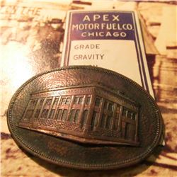"""Apex Motorfuel Co. Chicago"" Advertisement and an oval Brass medal with removed pin-back ""Compliment"
