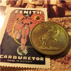 """Zenith Carburetor Made in Detroti"" Stamp with perforated edge and an Ottumwa, Iowa Country Club Tok"