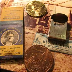 """1839-1939 Charles Goodyear Centennial"" empty Match Book; ""Buy Anmerican"" Scrip; 1975-1976 Irish Dol"