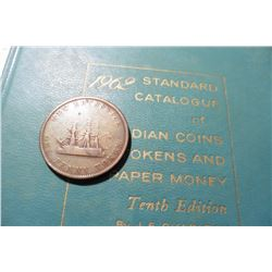 "1843 New Brunswick One Penny Token depicting Queen Victoria & Sailing Ship & 1962 ""Standard Catalogu"