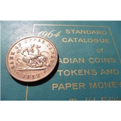 "1852 Bank of Upper Cananada One Penny Bank Token, VF-EF & & 1964 ""Standard Catalogue of Canadian Coi"