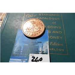 "1852 Bank of Upper Cananada One Penny Bank Token, partially holed & 1964 ""Standard Catalogue of Cana"