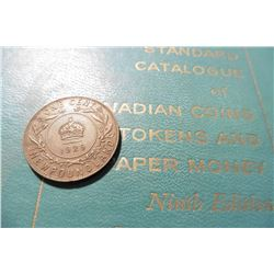"1929 Newfoundland Large Cent, EF & 1961 ""Standard Catalogue of Canadian Coins Tokens and Paper Money"