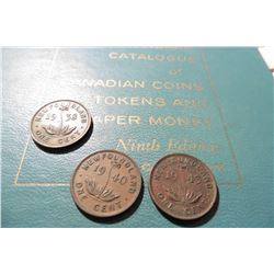 "1938, 40, & 43 Newfoundland Cents, EF & 1961 ""Standard Catalogue of Canadian Coins Tokens and Paper"