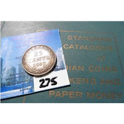 "1917C Newfoundland Silver Twenty-Five Cent, VG & 1960 ""Standard Catalogue of Canadian Coins Tokens a"