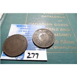 "1861 & 1864 New Brunswick Large Cents, Fine to VF & 1961 ""Standard Catalogue of Canadian Coins Token"