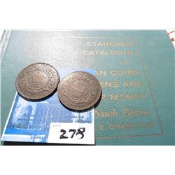 "1861 New Brunswick & Nova Scotia Large Cents & 1961 ""Standard Catalogue of Canadian Coins Tokens and"