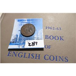 "1874 H Great Britain Copper Farthing EF-AU & ""1962-63 A Guide Book of English Coins"", by K.E. Bresse"
