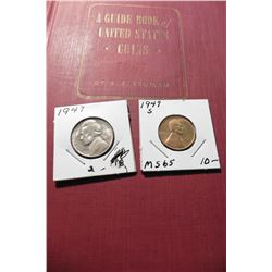 "1947 S Lincoln Cents, Gem BU; 1947 P Jefferson Nickel, BU & 1947 (First Edition) ""A Guide Book of Un"
