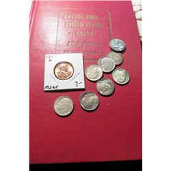 "1957 (10th Edition) ""A Guide Book of United States Coins"", by R.S. Yeoman; 1957 D Cent; & (8) 1957 P"