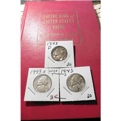 "1970 (23rd Edition)  ""A Guide Book of United States Coins"", by R.S. Yeoman, & 1943 D & (2) S Silver"