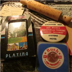 "Des Moines Souvenir Playing Cards; ""Husband Tamer Des Moines"" Souvenir Rolling Pin; ""Chicago Vacatio"