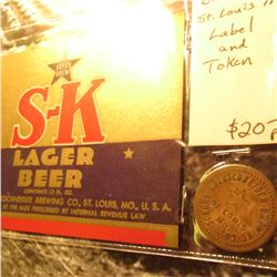 """S-K Lager"" Beer Label & Token from St. Louis, Mo."